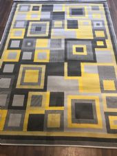 New Rugs Approx 8x5ft 160x230cm Squares Design Top Quality Grey/Yellow/Mustard